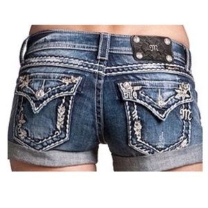 Miss Me Cuffed Denim Floral Embellished Shorts 26